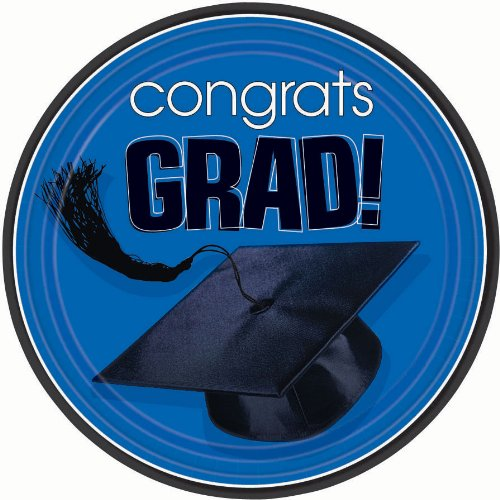Congrats Grad Royal Blue Lunch Plates 18ct