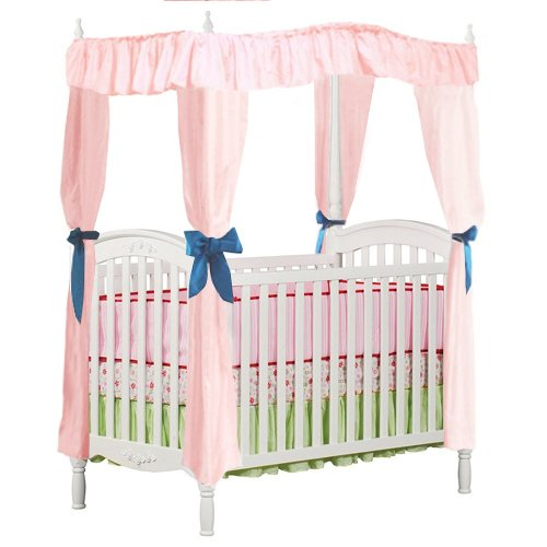 New Crib Size Pink Drape Canopy For Baby Crib With Turquoise Ribbon Ties front-736775