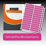 128 gedruckte, selbstklebende Namen-Etiketten - pink,...