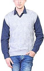 Priknit Men's Blended Sweater (SH-200-44 GREY, Grey, 44)