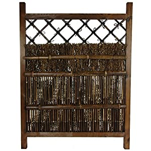 Oriental Furniture Asian Gardening and Fence Products, 4-Feet Tall Japanese Zen Style Wood and Bamboo Garden Gate, Dark Stain