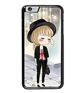 Fuson Premium 2D Back Case Cover Cute office Girl With Multi Background Degined For Apple iPhone 6 Plus