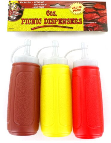 3-Pack Picnic Condiment Dispensers [12 Pieces] *** Product Description: 3-Pack Of Condiment Dispensers With Attached Lids Include Brown For BBQ Sauce, Yellow For Mustard And Red For Ketchup. ***