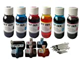 6 Refillable Cartridges for Hp 02
