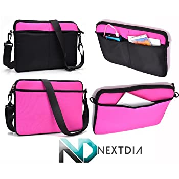 Universal Tablet Case with Shoulder Strap Attachment, Samsung Galaxy Tab Pro 10.1 LTE , Suitable for many 10 inch devices, Black and Hot Pink + Nextdia Cable Tie Organizer discount price 2015