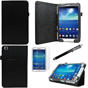 Sleek Gadgets® - Black Leather Wallet Case with Screen Protector & Black Stylus Pen for Samsung Galaxy Tab 3 8.0 (8'inch) Tablet