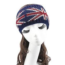 Tonsee Women's British Flag Knitting Headband Handmade Hairband