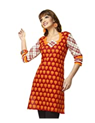 Karishma Suit - FREE Maybelline Colossal Kajal MRP 199 - S Red-Yellow Floral Print Pure Cotton Dobby Unstitched...
