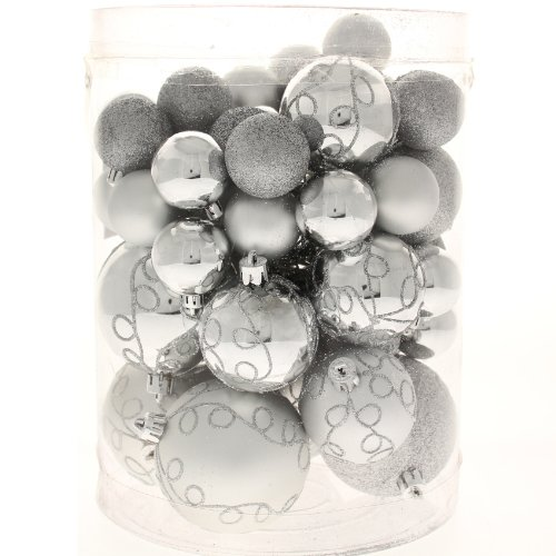 50 Piece Deluxe Christmas Tree Bauble Decoration Pack - Silver