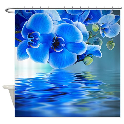 CafePress - Blue Orchids - Decorative Fabric Shower Curtain (Cafe Press Orchid Shower Curtain compare prices)