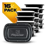 Fitpacker Meal Prep Containers - Plastic Microwavable Stackable Reusable (28oz - Set of 16)