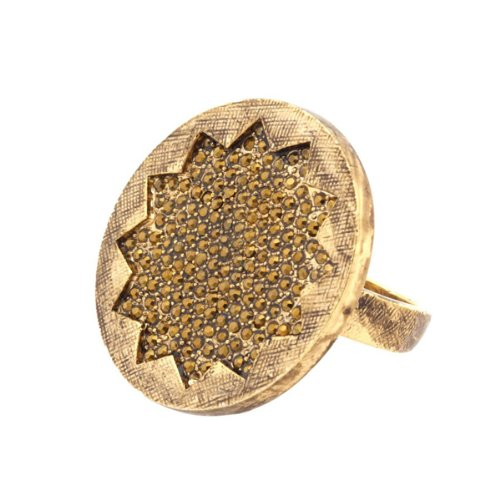 House of Harlow 1960 Jewelry Medium Gold Sunburst Cocktail Ring, Size 5
