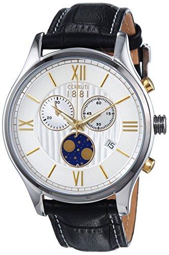 Cerruti-Orologio da uomo al quarzo con Display con cronografo e cinturino in pelle nera CHIOGGIA CRA119STU07BK