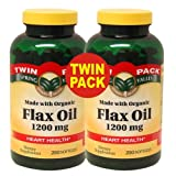 Spring Valley - Flax Oil 1200 mg, Organic Flaxseed, 400 Softgels, Twin Pack (2 Bottles of 200 Each)