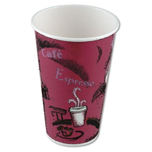 NEW - Bistro Design Hot Drink Cups, Paper, 16 Oz., Maroon, - 50 pack- plus 2 clip on cup handles (Disposable Hot Beverage Dispenser compare prices)