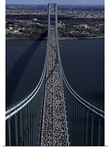 Runners crossing the Verrazano Bridge after starting the 1999 New York City Marathon
