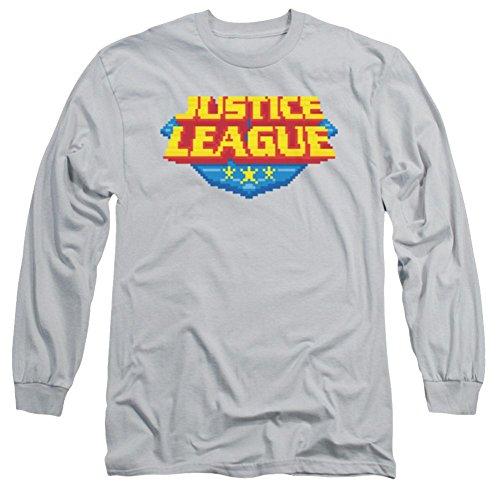 Justice League 8 Bit Logo Long Sleeve T-Shirt