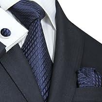 """Landisun Solids Mens Silk Tie Set: Necktie+Hanky+Cufflinks 643 Navy Blue, 3.75""""Wx59""""L"""