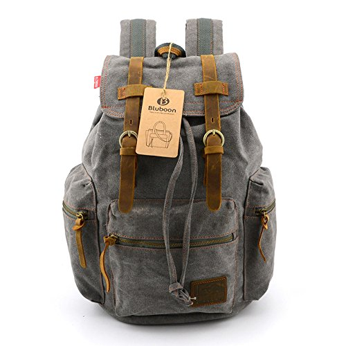 BLUBOON(TM) Vintage Men Casual Canvas Leather Backpack Rucksack Bookbag Satchel Hiking Bag (Grey)