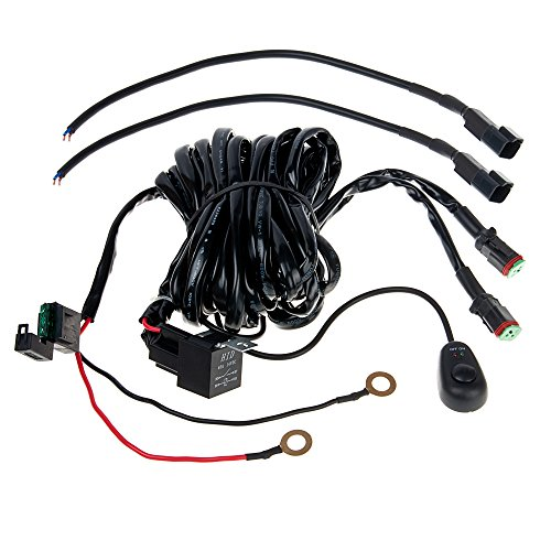 HERO-LED OR-WH-DTD 10ft LED Light Wiring Harness with Switch and Relay - Dual Output, DT Connector (12V Only) (Dual Light Bar Harness compare prices)