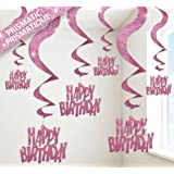 Pink Glitz Swirl Decorations - Pack of 6