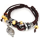 Leaf Pendant Pandora Beads Leather Bracelet Adjustable Wirstband
