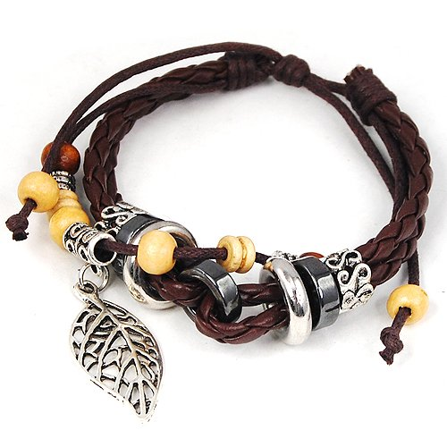 Leaf Pendant Pandora Beads Leather Bracelet Adjustable