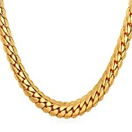 "U7 18K Gold Plated Necklace With ""18K"" Stamp Men Jewelry 3 Colors 6 MM Wide Snake Chain Necklace"