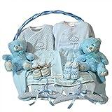 Canastilla bebe - Clasica gemelos azul - Cesta de regalo para recien nacido