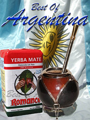 Argentina Mate Kit: Gourd On Nickel Support + Metal Nickel Straw (W/Filter) + Yerba Mate Herb Tea
