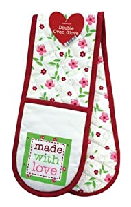 100% Cotton Double Oven Gloves Mitt Novelty Made With Love Gift Idea Pot Holder