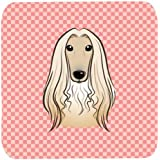 "Caroline's Treasures BB1244FC Checkerboard Pink Afghan Hound Foam Coaster (Set Of 4), 3.5"" H X 3.5"" W, Multicolor"