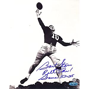 Bart Starr Alabama B&W 8x10 Photo w  Roll Tide! Bama 52-55 Insc. (TS Auth) by Steiner Sports