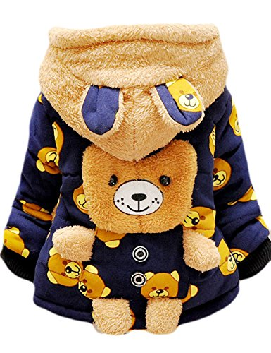 DDSOL Baby Boys Girls Winter Outwear 3D Bear Cotton Hooded Coats 1Y-1.5Y