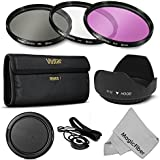 52MM Professional Lens Filter Accessory Kit for NIKON D7100 D7000 D5200 D5100 D5000 D3300 D3200 D3100 D3000 D90 D80 DSLR Cameras - Includes: Vivitar Filter Kits (UV, CPL, FLD) + Carry Pouch + Tulip Lens Hood + Snap-On Lens Cap w/ Cap Keeper Leash + MagicFiber MicroFiber Lens Cleaning Cloth