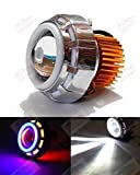 #2: AutoSun Projector Lamp Led headlight Lens projector ( High beam, Low Beam, Flasher function) For - All Bikes (Blue ,Red and White)