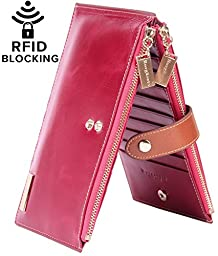 Borgasets RFID Blocking Women\'s Genuine Leather Zipper Wallet Card Case Purse Rose
