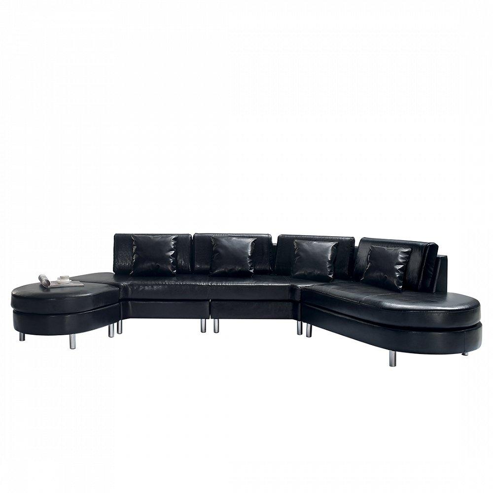 Luxurious Leather Sectional Sofa - COPENHAGEN Black
