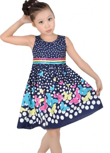 New Girls Dress Navy Blue Butterfly Party School Child Size 4-5