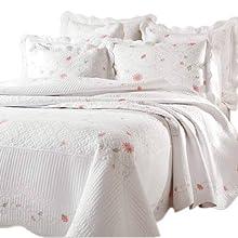 Textiles Plus 100-Percent Cotton Quilted King Quilt Petals