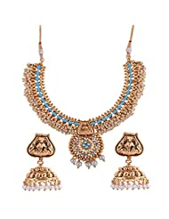 Ganapathy Gems 1 Gram Gold Plated Traditional South Indian Temple Jewellery Set With Pearls. - B00SV4TNU0