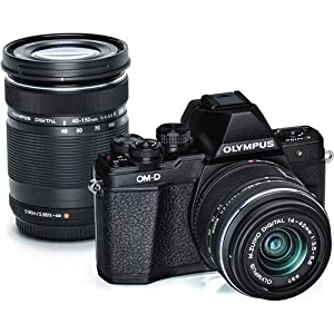 Olympus V207051BU010 OM-D E-M10 Mark II Mirrorless Micro 4/3 Digital Camera with 14-42mm and 40-150mm Lenses (Black)