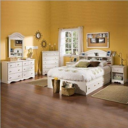 Cheap South Shore Summer Breeze Kids Full Wood Bookcase Bed 4 Piece Bedroom Set in White Wash (3210211-4PKG)
