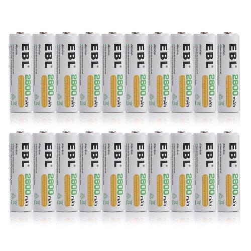 Ebl® High Capacity 2800Mah Aa Ni-Mh Rechargeable Batteries, 20 Pack