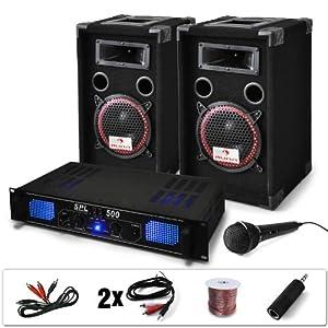 DJ PA-Set DJ-14 1600 Watt Musik-Karaoke-Anlage PA-Verstärker SPL-500 und 500W PA-Boxen Auna XEN-3580 + Kabelset (inkl. Mikrofon, 3 Stereo-Cinch-Eingänge) schwarz