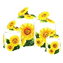SUNFLOWER 3D Canisters Set of 4 Sunflowers NEW