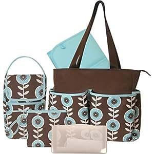 baby essentials 5 piece diaper bag brown teal baby. Black Bedroom Furniture Sets. Home Design Ideas