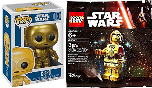 Lego Star Wars Exclusive C-3PO Mini Figure & Funko Pop! Lucas Films Star Wars C-3PO Vinyl Bobble Head