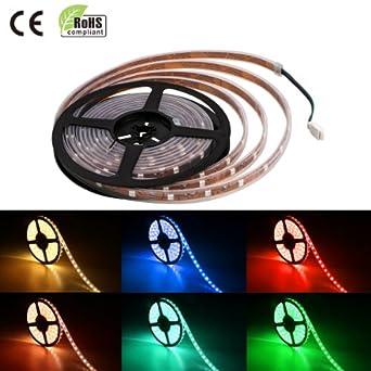 Lighting EVER® 12V Flexible RGB LED Strip Light, LED Tape, Multi Colour,150 Units 5050 LEDs, Color Change, Waterproof, Light Strips, Pack of 5m