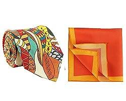 Chokore Multi Coloured Silk Tie & Red and Orange Silk Pocket Square set